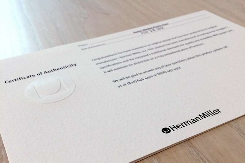 Herman Miller classics come with a Certificate of Authenticity, which also shows the date when the product was manufactured. (Photo Credit: Amanda Mastenbrook)