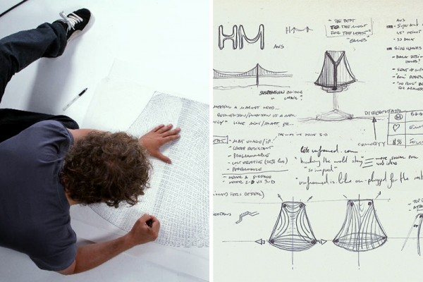 Yves Behar sketches out plans for the Sayl chair for Herman Miller. (Photo Credit: Herman Miller)